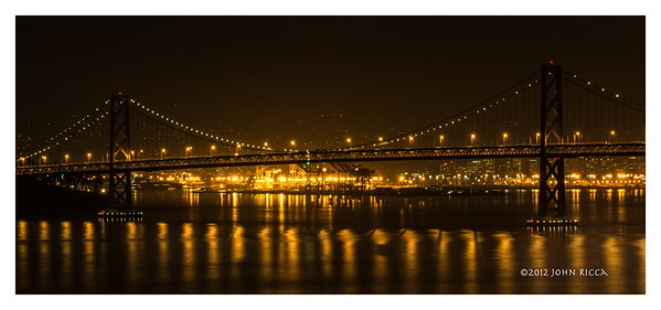 "Bay Bridge At Night (33"" H x 76"" W)"
