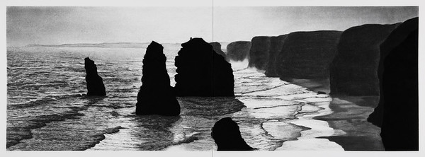 Twelve Apostles , charcoal on paper 2015 SOLD