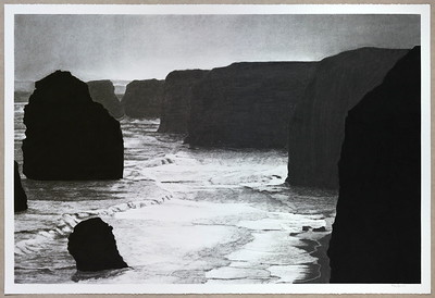 Coastline, Twelve Apostles, charcoal on paper 2016 framed SOLD