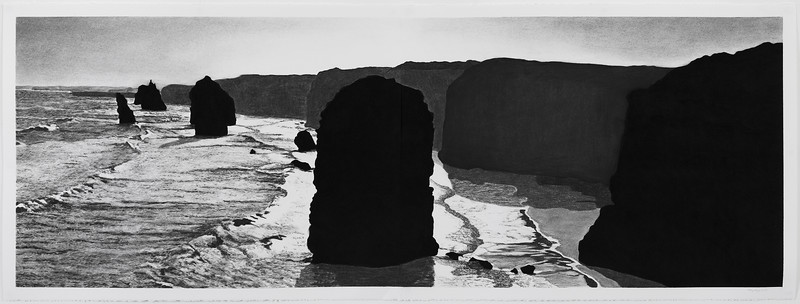 Twelve Apostles #2, charcoal on paper diptych 52 x148cm image