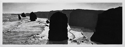 Twelve Apostles #2, charcoal on paper diptych 52 x148cm image Framed 73x168cm