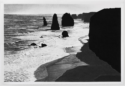 Twelve Apostles #3 , charcoal on paper 71 x106.5cm image Framed 85 x119.5cm