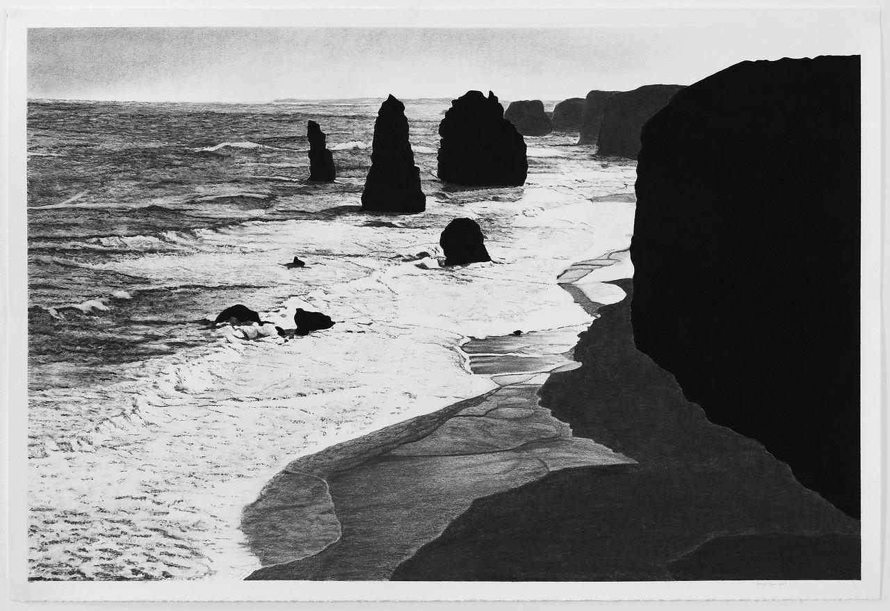 Twelve Apostles #3 , charcoal on paper 71 x106.5cm image Framed 85 x119.5cm