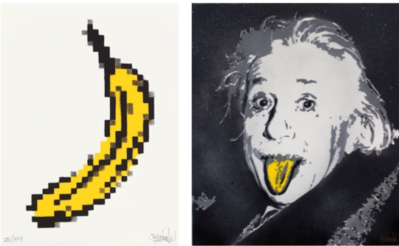 Thomas Baumgaertel  Pixel Banana, 2018, Albert Einstein, 2016, both lacquer on paper,  signed + numbered Editions, 40 x 30 cm