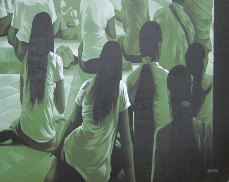 Yan Naing Tun,  Girls in Worship. Acrylic on canvas, 2012. 51 X 41 in.