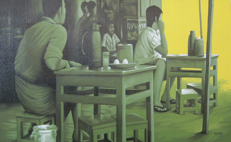 Yan Naing Tun, Waiting For... Acrylic on canvas, 2012. 50 X 30 in.