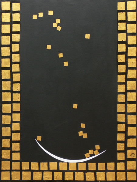 Nann Nann, Well of Merit (2). Acrylic and gold leaf on canvas, 2011. 36 X 48 in.