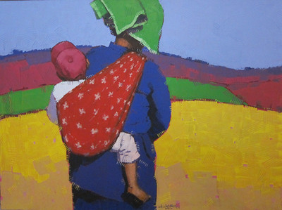 Than Kyaw Htay, Traveling Baby (6). Acrylic on canvas, 2013. 49 X 37 in.