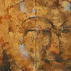 Khin Zaw Latt, Age Old (5) - Golden Buddha. Acrylic on canvas, 2011. 36 X 36 in. (diptych)