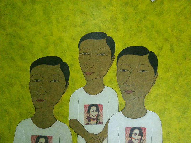 Min Zaw, Ordinary People (12). Acrylic on canvas, 2014. 50 X 36 in.