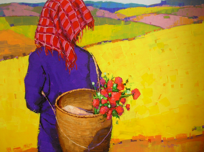 Than Kyaw Htay, The Wonderland (5). Acrylic on canvas, 2013. 49 X 37 in.