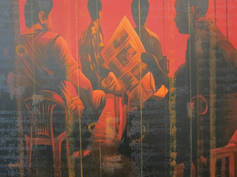 Yan Naing Tun, Good News at the Teashop (8). Acrylic on canvas, 2012. 50 X 37 in.