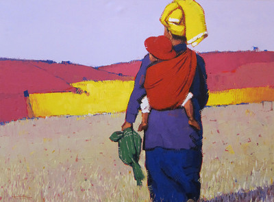 Than Kyaw Htay,Traveling Baby (4),	Acrylic on canvas; 2013. 49 x 37 in.