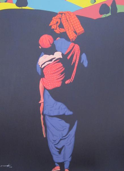 S. Moe Z., One Step Forward (2), Acrylic on canvas; 2013. 36 x 48 in.
