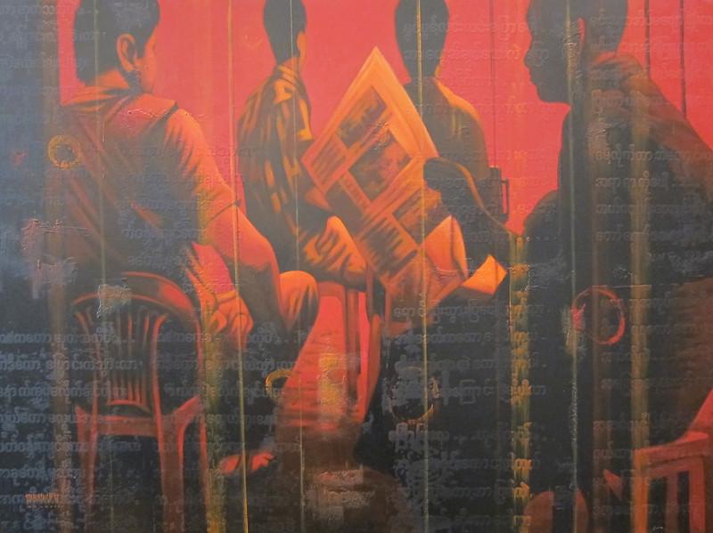 Yan Naing Tun, Good News at the Teashop (8), Good News at Tea Shop (8), Acrylic on canvas; 2012 . 50 x 37 in.