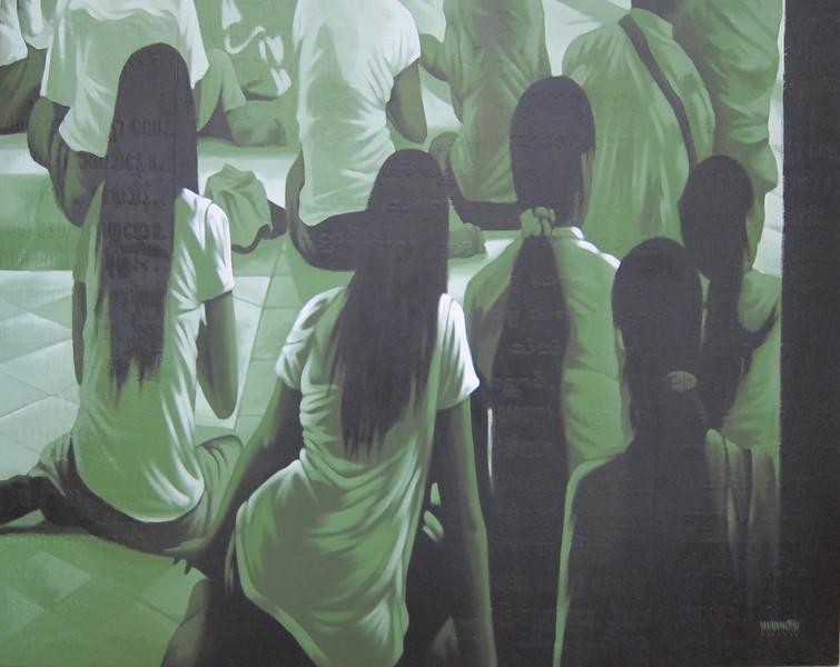Yan Naing Tun, Girls at Worship, Acrylic on canvas; 2012. 51 x 41 in