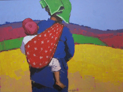 Than Kyaw Htay, Traveling Baby (6), Acrylic on canvas; 2013. 49 x 37 in.
