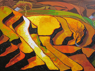 Ngwe Aung, Wonder In The Land (5), Acrylic on canvas; 2014. 48 x 36 in.