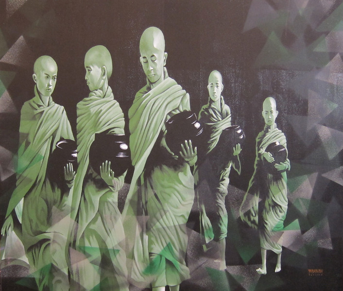 Yan Naing Tun, What Will Be Next (8)? Acrylic on canvas; 2013. 46 x 41 in.