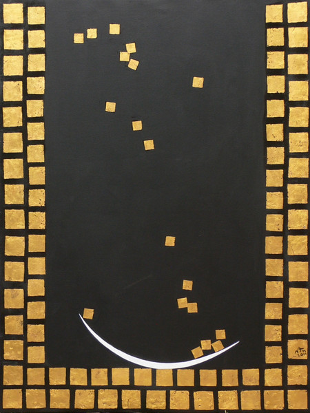 Nann Nann, Well of Merit (2), Acrylic, gold leaf on canvas; 2011, 36 x 48 in.
