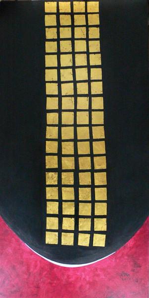 Nann Nann, Peaceful (2). Acrylic, gold leaf on canvas; 2011.24 x 48 in.