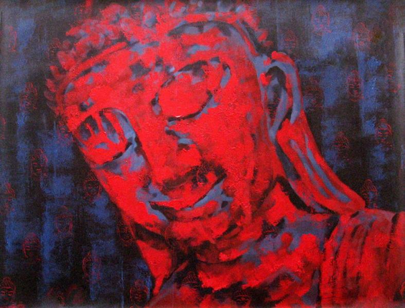 Khin Zaw Latt, Incandescent. Acrylic on canvas, 2010. 54 x 43 in.