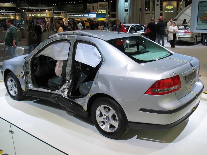 Saab side impact crash