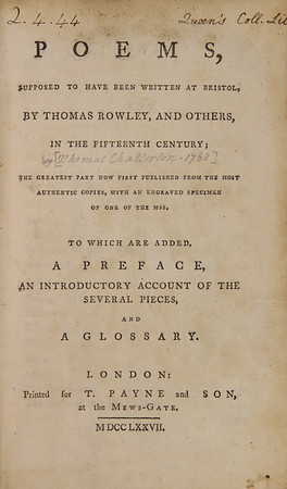 Thomas Chatterton: Poems supposed to have been written at Bristol by Thomas Rowley and others, in the Fifteenth Century (1777)