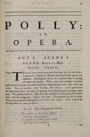 John Gay's Ballad Opera, Polly (1729)