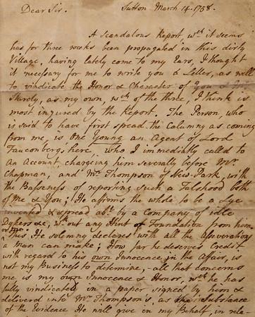 Laurence Sterne: autograph letter