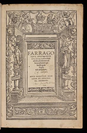 Title page of Farrago nova epistolarum Des. Erasmi Roterodami