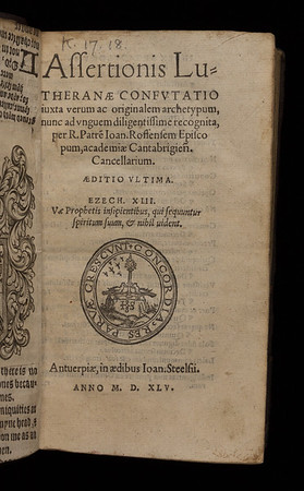 Title page of Assertionis Lutheranae confutatio