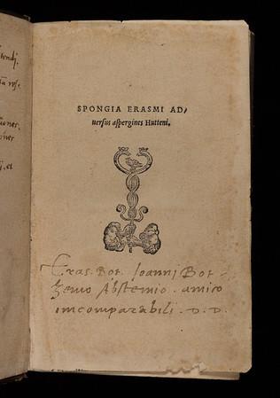 Title page of Spongia Erasmi