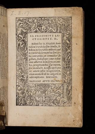 Title page of Parabolas sive similia