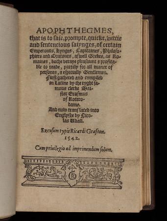 Title page of Apophthegmes