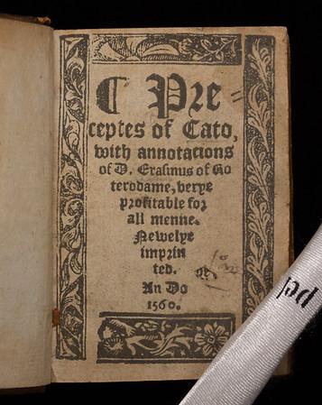 Title page of Preceptes of Cato