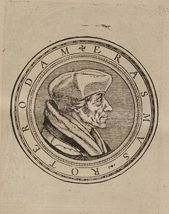 Woodcut portrait of Erasmus