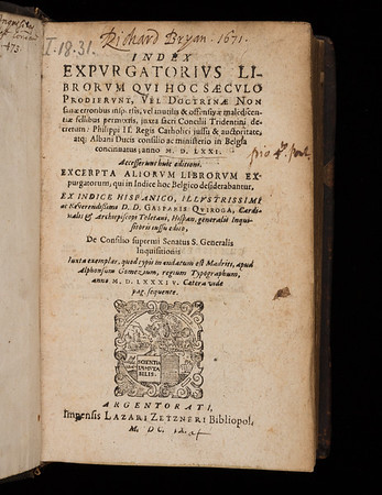 Title page of Index expurgatorius librorum
