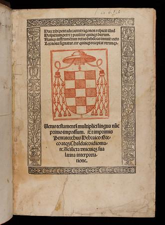 Title page of Vetus testamentum multiplici lingua nunc primo impressum
