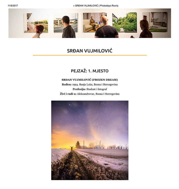 1st Place in Landscape Category at Rovinj Photodays 2017