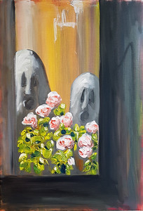 Två gnomer i blomfönster