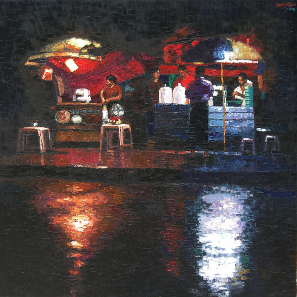 SELECTED - KMS - Rainy Night in Red and Black - 91 x 91 - Oil on canvas