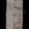 "This loose music fragment was found inside the binding of one volume of the works of the Italian Reformer Girolamo Zanchi. The strip was cut down from a leaf of a Gradual for Sarum Use from the proper chants for Mass on Passion Sunday: Sequence Eripe me domine, Offertory Confitebor tibi domine, Communion Hoc corpus pro vobis; and on Monday in Passion Week: Introit Miserere mei domine. <br><br> <b>Author:</b> Girolamo Zanchi<br> <b>Title:</b><i> Operum theologicorum D. Hieronymi Zanchii tomus primus [-octavus] </i> [Works of Saint Jerome] (Geneva, 1605-1613)<br> <b>Shelfmark:</b> <a href=""https://idiscover.lib.cam.ac.uk/permalink/f/1nnjft8/44CAM_ALMA21606041710003606""> M.3.22-24</a>"