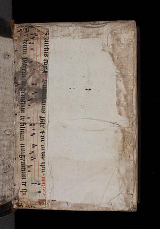 "Manuscript waste used as spine-guard from an English breviary with the antiphon and music: Te deum patre ingenitum te filium unigenitum.<br><br> <b>Author:</b> Robert Rollock <br> <b>Title:</b><i> In librum Danielis prophetae</i> (Edinburgh, 1591)<br>  <b>Shelfmark:</b>   <a href=""http://idiscover.lib.cam.ac.uk/permalink/f/1nnjft8/44CAM_ALMA21421985060003606""> G.15.1</a>"
