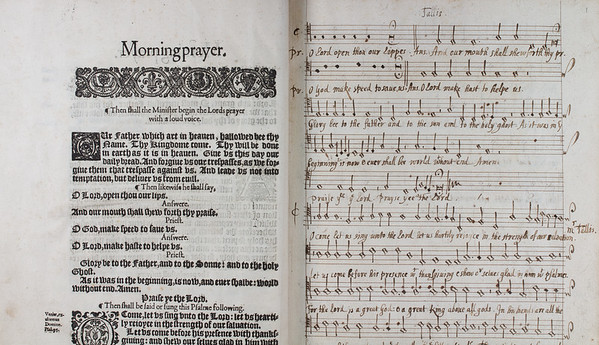 "Beginning of morning prayer together with manuscript music from the <i>Dorian Service</i> by Thomas Tallis. <br><br> <b>Title:</b><i> The booke of common prayer </i> (London, 1636) <br> <b>Shelfmark:</b> <a href=""http://idiscover.lib.cam.ac.uk/permalink/f/1nnjft8/44CAM_ALMA71413449950003606""> G.4.17</a> <a href=""https://issuu.com/03776/docs/choirbook""> (Digital copy)</a>"