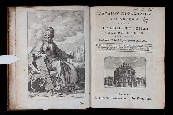"""Entitled simply <i>Harmonics</i>, ideas from this treatise by the Greek astronomer Claudius Ptolemy (100–c.170 AD) played an essential part in medieval and Renaissance education. This important translation from Greek into Latin was undertaken by the famous mathematician and onetime Queens' Fellow, John Wallis (1616-1703). The illustrated frontispiece shows Ptolemy, as conceived in the seventeenth century, with his monochord. (An instrument used in antiquity and the middle ages to measure musical intervals in terms of ratios, and thus to quantify music in terms of numbers.) Although Ptolemy agreed with Pythagoreans that musical structures should be analysed intellectually through numbers, he also argued that such rationally derived systems must be assessed by the sense of hearing. His interest in practical music makes this treatise all the more significant as a rare insight into the practical music and instruments of ancient Greece. Like the Pythagoreans, Ptolemy related his harmonic analyses to the universal structures of all perfect beings, the soul and the heavens. <br> With the development of harmony and music in parts (polyphony), Ptolemy became of particular interest in the Renaissance. This was because, whereas the Pythagorean scale had served well for the singing of medieval chants, it proved less suitable for polyphony due to the harshness of its thirds and sixths. From the sixteenth century, Ptolemy's 'syntonic scale', with its mathematically perfect thirds and sixths, better reflected musical practice and provided the means for theorists seeking to use music as a foundation upon which to speculate about nature and the world. <br><br> <b>Author:</b> Claudius Ptolemy<br> <b>Title:</b><i> Harmonicorum libri tres</i> [Harmonics] (Oxford, 1682) <br> <b>Shelfmark:</b> <a href=""""http://idiscover.lib.cam.ac.uk/permalink/f/1nnjft8/44CAM_ALMA21586145160003606""""> H.5.33</a>"""