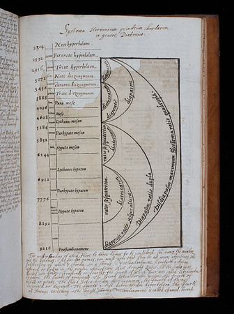 """Morley's explanation of the ancient Greek musical scale. A fragment from the original printed page has been pasted onto a leaf containing Morley's accompanying text written out by hand.<br><br> <b>Author:</b> Thomas Morley<br> <b>Title:</b><i> A plaine and easie introduction to practicall musicke</i>, 2nd ed. (London, 1608) <br> <b>Shelfmark:</b> <a href=""""http://idiscover.lib.cam.ac.uk/permalink/f/1nnjft8/44CAM_ALMA21584762960003606""""> D.2.30</a>"""