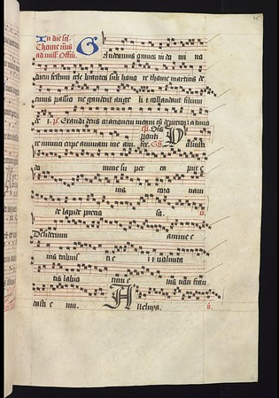 """Office for St Thomas of Canterbury, a later addition dating from the sixteenth century. This was possibly inserted during the reign of Mary Tudor under whom the Office for St Thomas was temporarily readmitted into the liturgy.<br><br> <b>Title:</b> <i>Gradual for the use of Sarum </i> (15th century) <br> <b>Shelfmark:</b> <a href=""""https://cudl.lib.cam.ac.uk/view/MS-QUEENS-00028/1""""> Queens' College MS 28</a>"""