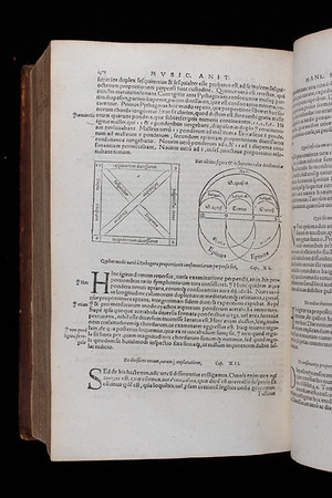 "In Book 1, Chapter 11 of <i>De institutione musica</i>  Boethius explains 'in what ways the ratios of consonances were variously considered by Pythagoras.' These diagrams illustrate Pythagoras's conception of music as an art founded on the ratio 6:8:9:12. <br><br> <b>Author:</b> Boethius<br> <b>Title:</b><i> De Institutione Musica</i> in <i>Opera omnia </i> [Works] (Basel, 1570) <br> <b>Shelfmark:</b> <a href=""http://idiscover.lib.cam.ac.uk/permalink/f/1nnjft8/44CAM_ALMA21392221580003606""> F.1.24</a>"