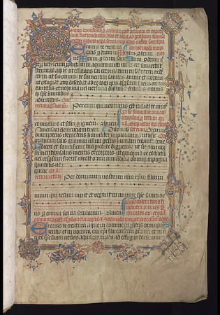 "Although there is no internal evidence to confirm that this decorated volume was made for or presented to Queens', there is also no evidence that it ever had another provenance. Thought to date from around 1450, the many additions and deletions that have been made to the volume, some as recently as 1569, speak to the religious disputes that defined England in the sixteenth century.  The possibility that the volume contains the specific music and liturgy practised at Queens' during the turbulent Tudor age adds considerably to its interest. Queens' MS 28 contains service settings for the whole year according to the Sarum Rite.  A variant of the Roman Rite, the Sarum Rite was widely used for the ordering of Christian public worship in England from the eleventh century until the Reformation. However, the deliberate erasure of the title for the feast of St Thomas of Canterbury (fo. 24v), together with a reference to the pope ('cum papa nostro N atque') (fo. 87v) suggests that the book was still in use after the break with Rome (1534). At a later date, other missing leaves (including the first of those for the feast of St Thomas of Canterbury) have been re-inserted - perhaps during the reign of Mary Tudor.<br><br> Music from this Gradual can be heard <a href=""https://www.queensoldlibrary.org/Exhibitions/Heavenly-Harmony/Music""> here</a>.<br><br> <b>Title:</b> <i>Gradual for the use of Sarum </i> (15th century) <br> <b>Shelfmark:</b> <a href=""https://cudl.lib.cam.ac.uk/view/MS-QUEENS-00028/1""> Queens' College MS 28</a>"